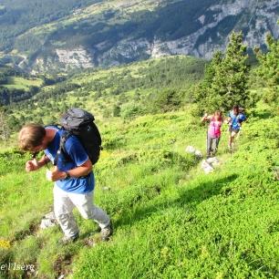 Belle course d'arêtes herbeuses entre St Disdier et le col de l'Aup, avec Vincent, Evelyne et Mariana.