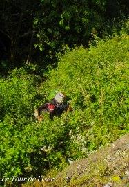 Tout près de la civilisation, et si loin de la facilité : Jérôme dans les ronces et les orties, 5m en-dessous de la route...