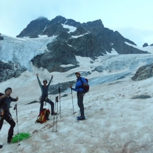 Au départ, sur le glacier de la Pilatte.